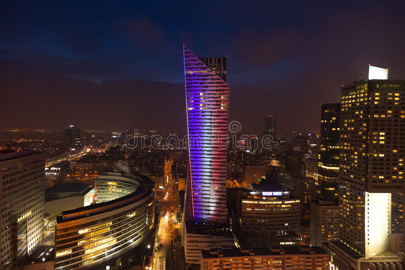 Night view of warsaw center city building in Poland in Europe. Night view of warsaw center city building in Poland, Europe royalty free stock photo