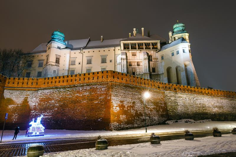Night view of Wawel Castle in Krakow, one of the most famous landmark in Poland royalty free stock photography