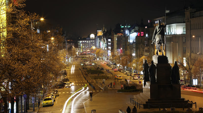 Night view of Wenceslas Square in the New Town of Prague royalty free stock images
