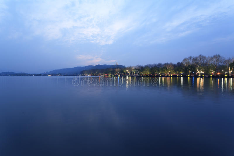 Night view of the West Lake in Hangzhou royalty free stock images