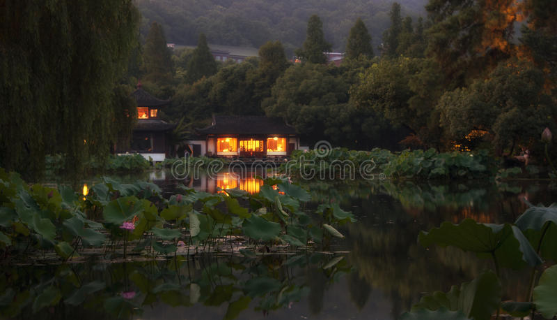 A night view of West Lake Hangzhou stock photo