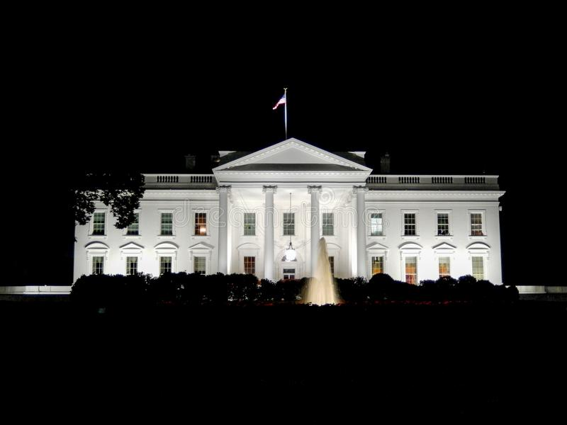 Night view of the White House stock image