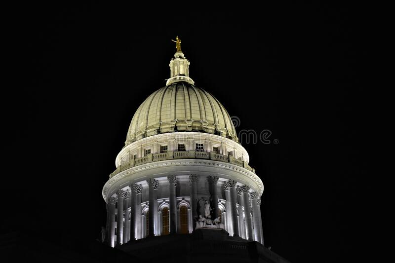 Wisconsin State Capitol Dome at Night. Night view of the Wisconsin State Capitol Dome in Madison WI stock image