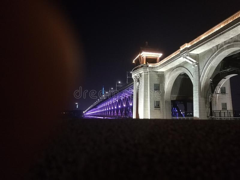 Night view of Wuhan, Yangtze River Bridge stock photos