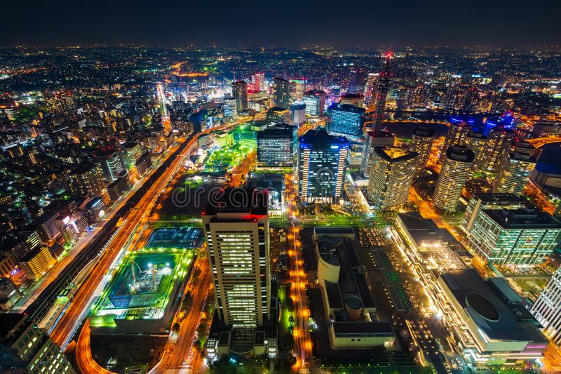 Night view of Yokohama Cityscape, Japan stock photos