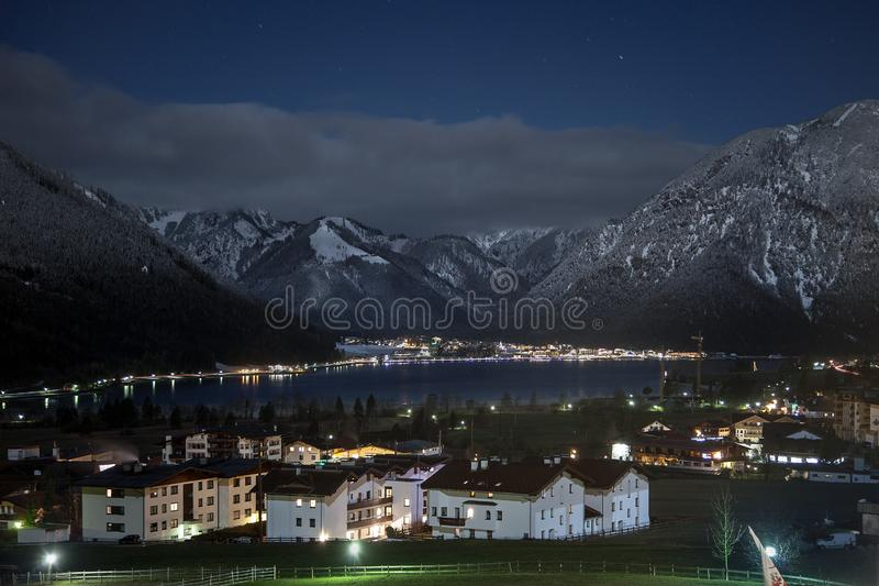 Night views of Achensee and Pertisau from Maurach, Austria. royalty free stock photo