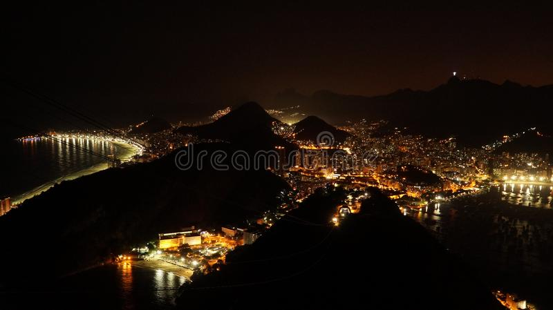Night views to the Rio harbor from Sugar Loaf Mountain after sunset in Rio de Janeiro, Brazil. royalty free stock photos