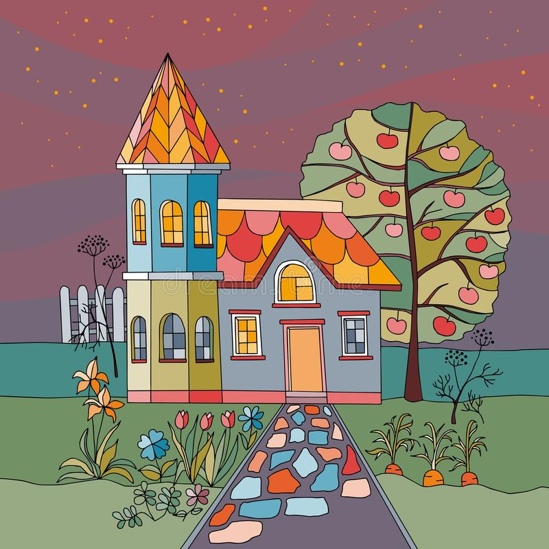 Night in village. Colorful country house with tower in garden with apple tree, flowers and garden beds. vector illustration