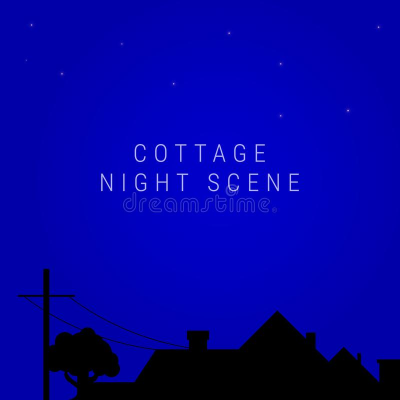 Free Night Village Cottage Skyline. Country House, Vector Illustration Stock Photos - 165101483