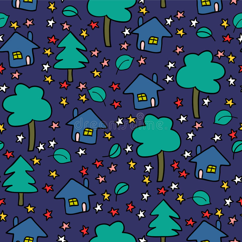Download Night Village Seamless Pattern Stock Vector - Image: 32177959