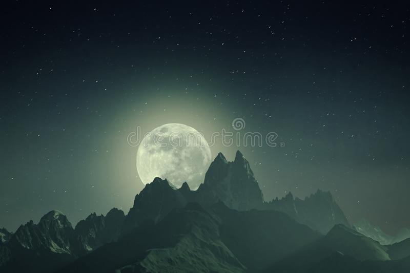 Night Vintage Landscape with Mountains and Moon. Night vintage landscape with mountains and full moon, beautiful stars in endless galaxy royalty free stock photo