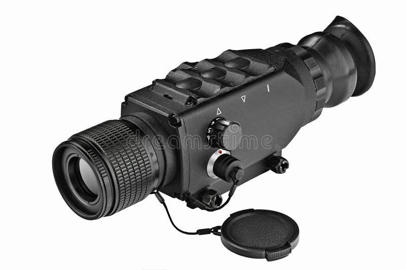 Night-vision monocular electron optical devise. Black steel night-vision monocular army devise for targeting on white background stock image