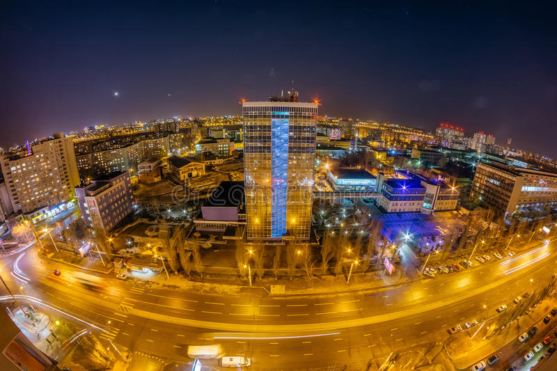 Night Voronezh cityscape from rooftop. Panorama of Leninskiy Prospect stock images