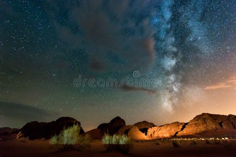 Night in Wadi Rum desert. Jordan stock images