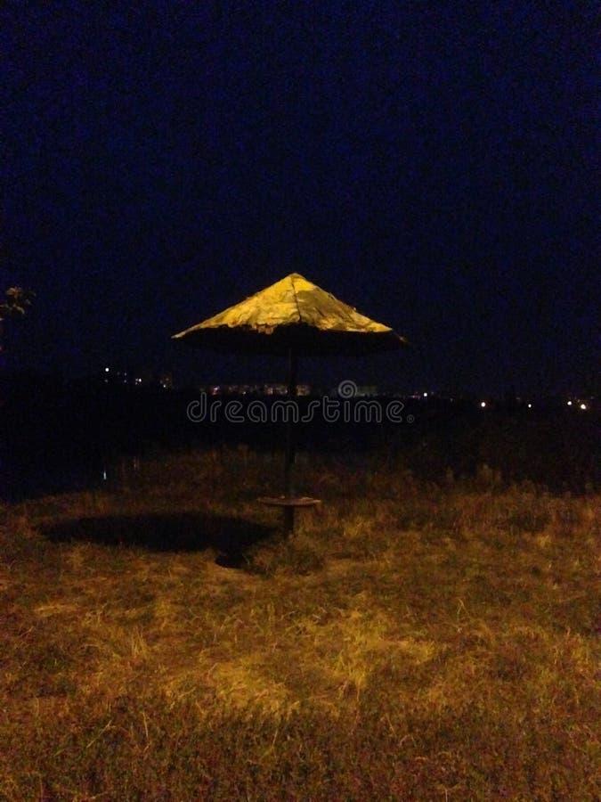 Night walk lakeside stock image