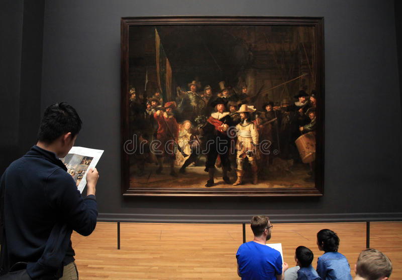 The Night Watch by Rembrandt at the Rijksmuseum in Amsterdam, Ne stock photo