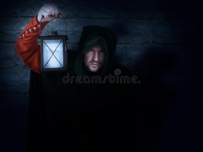 Night watchman with a lantern royalty free stock photo
