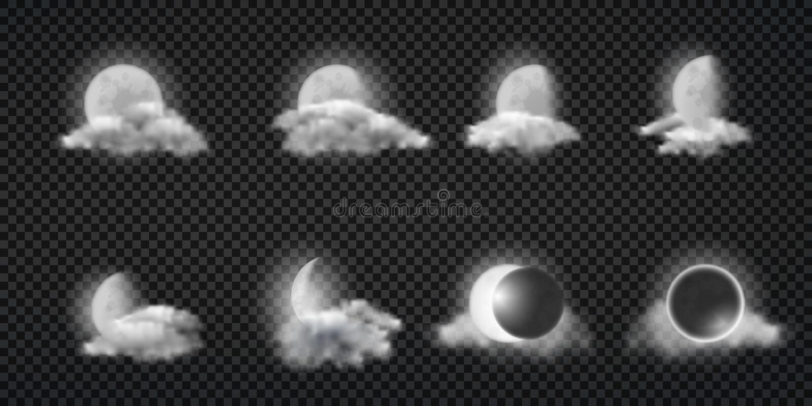 Night weather forecast icons realistic vector set. Night weather forecast realistic vector icons set. Lunar eclipse, moon calendar design elements collection vector illustration