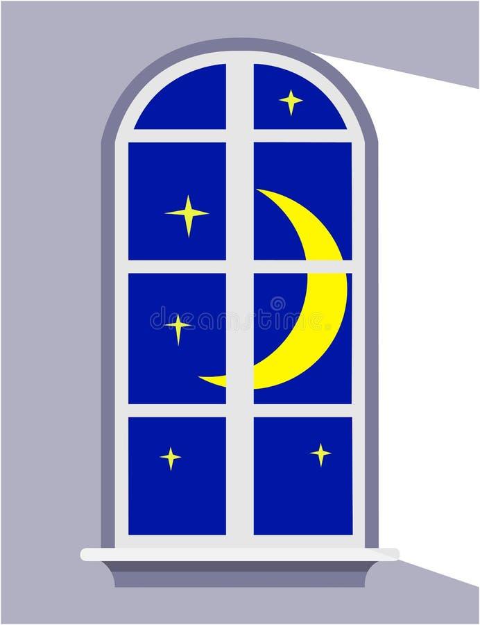 Night window the moonlight, Goodnight. stock illustration