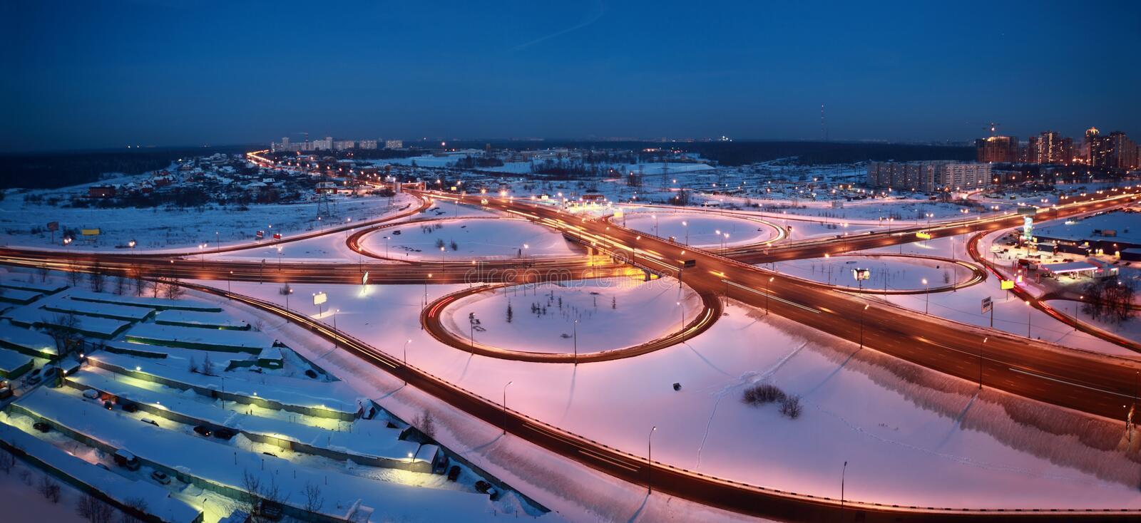 Night winter cityscape with big interchange stock photography