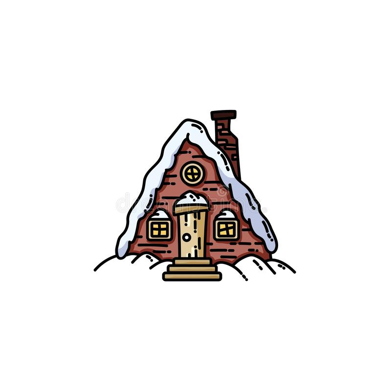 Night winter forest scene cabin log flat icon vector illustration