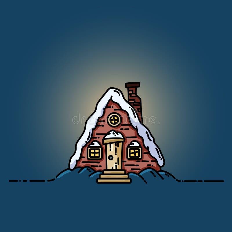 Night winter forest scene cabin log flat image royalty free illustration