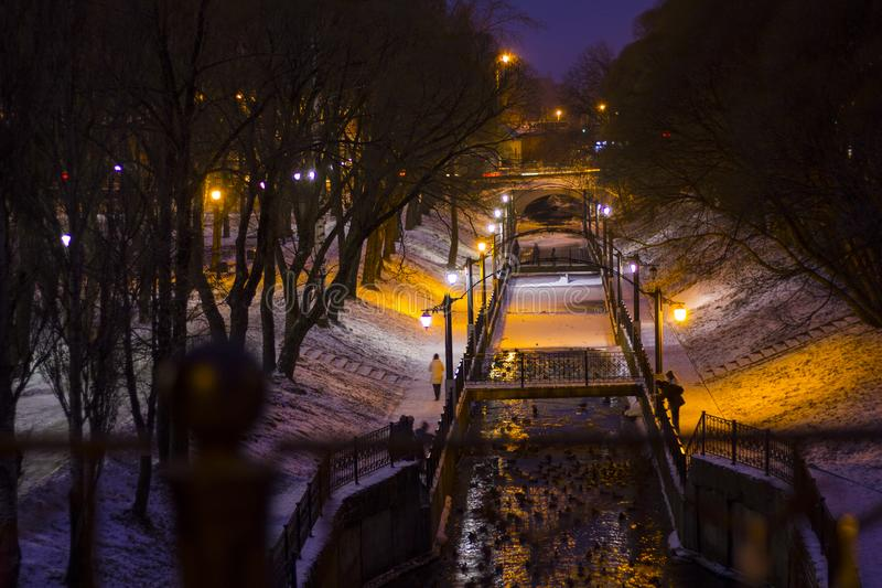 Night winter landscape in the city park. Bridge over the river. Park lights. Willows. royalty free stock image
