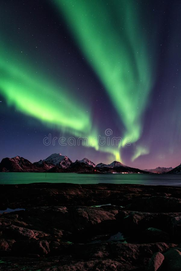 Scenic winter landscape with northern lights, Aurora borealis in night sky, Lofoten Islands, Norway stock images