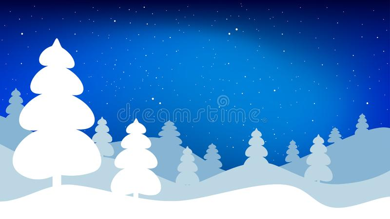Night winter landscape. Vector background in 16:9 aspect ratio. Night winter landscape. Vector background in 16:9 aspect ratio stock illustration