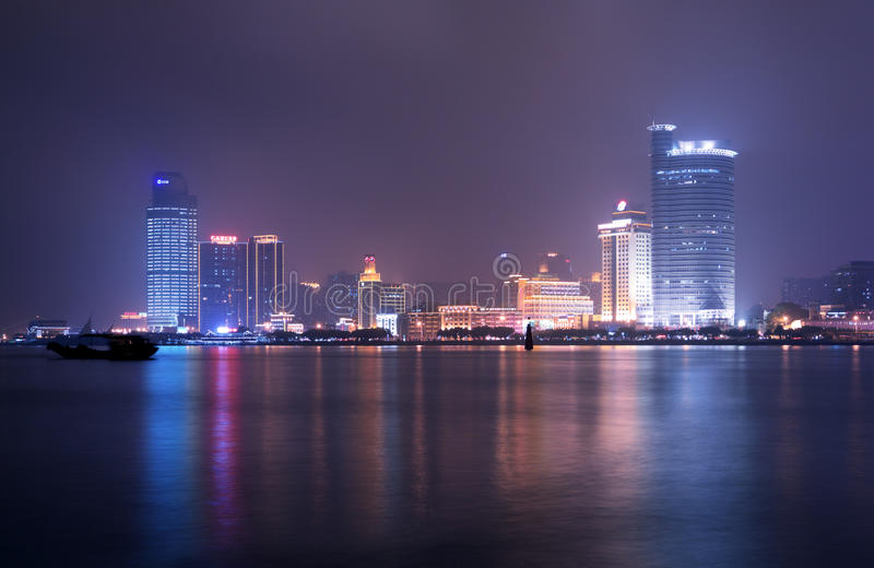 Night of xiamen. City in Fujian China royalty free stock photography