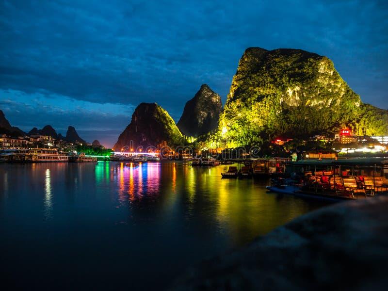 Night in Yangshuo. (Guangxi, China royalty free stock image