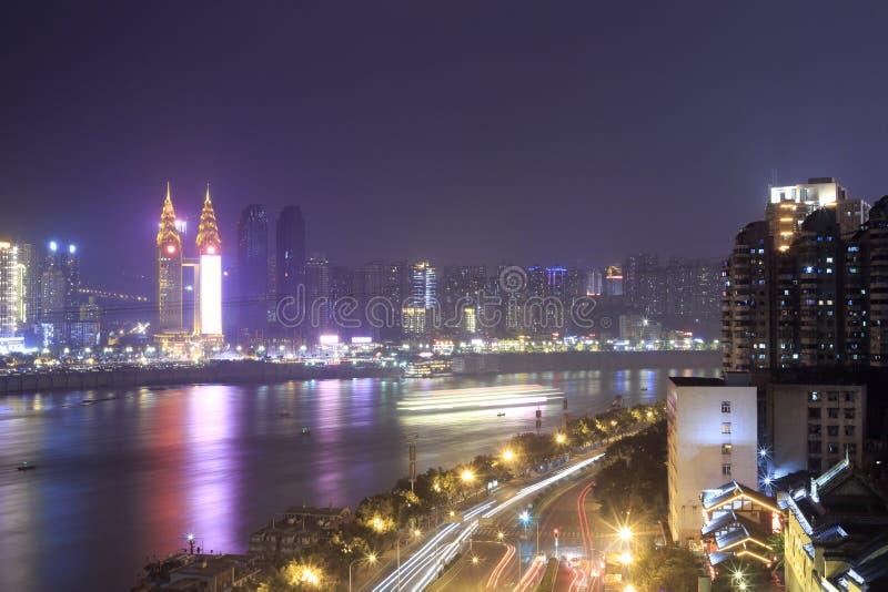 Night of the yangtze river. In chongqing city, china stock images