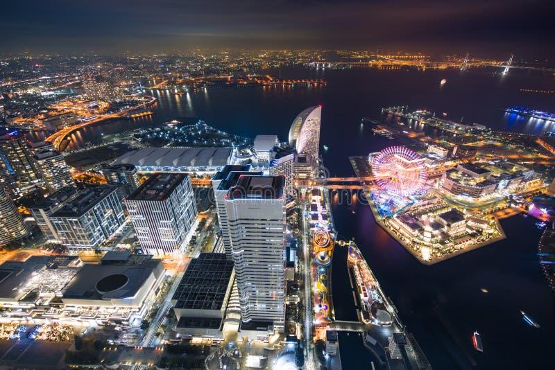 Night at Yokohama bay. View of Yokohama bay at night from Yokohama landmark tower, Japan royalty free stock photo