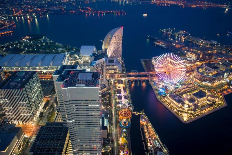 Night at Yokohama bay. View of Yokohama bay at night from Yokohama landmark tower, Japan stock photography
