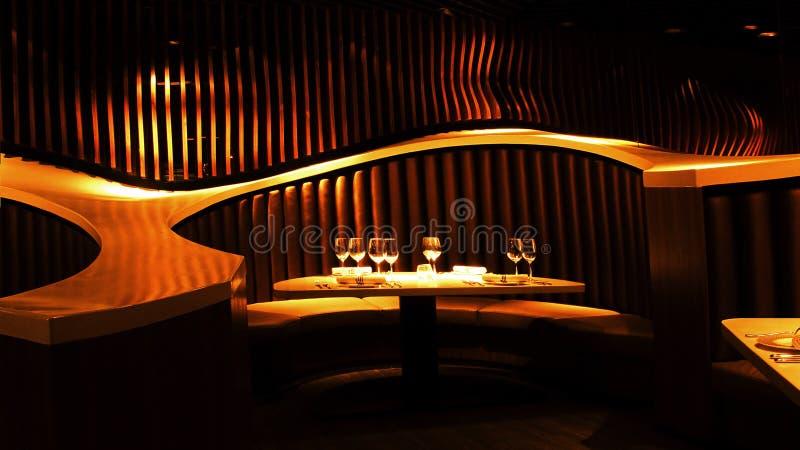 Nightclub. Table set of a modern luxurious nightclub stock photography