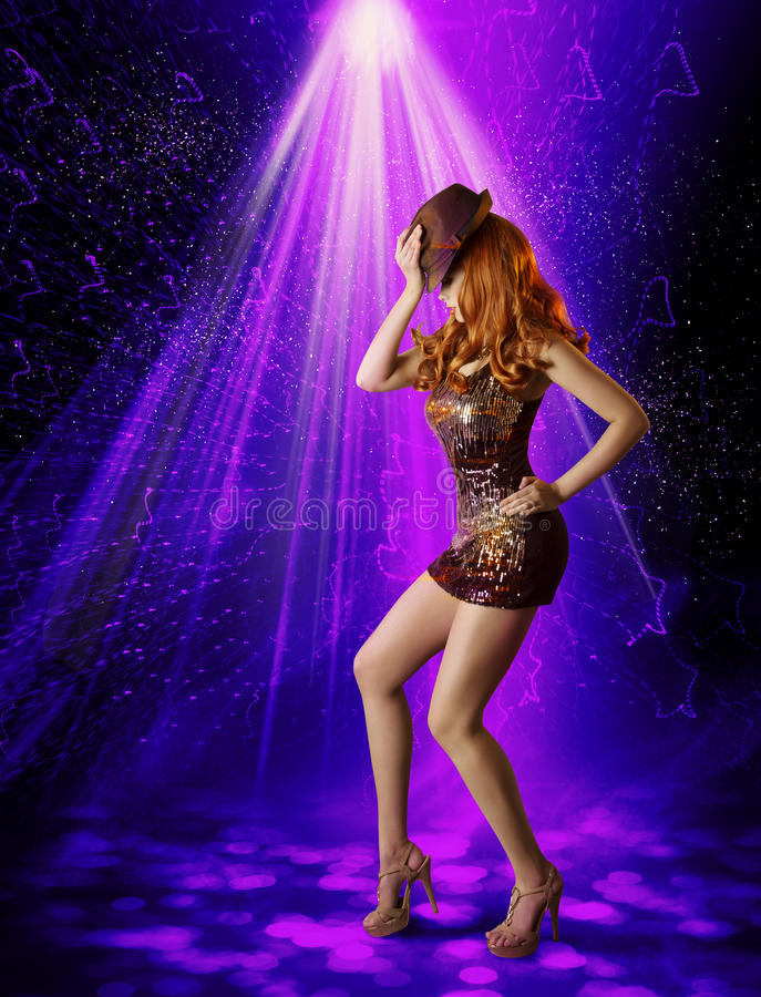 Nightclub Dancing Girl, Woman Artist in Night Club, Dancer Hat royalty free stock image