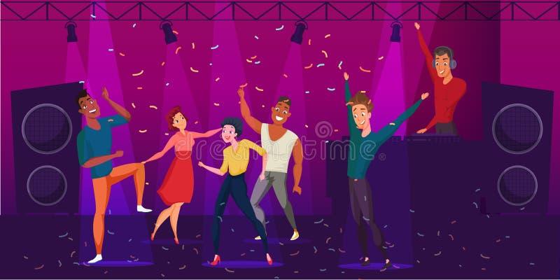 Nightclub discotheque flat color illustration. vector illustration