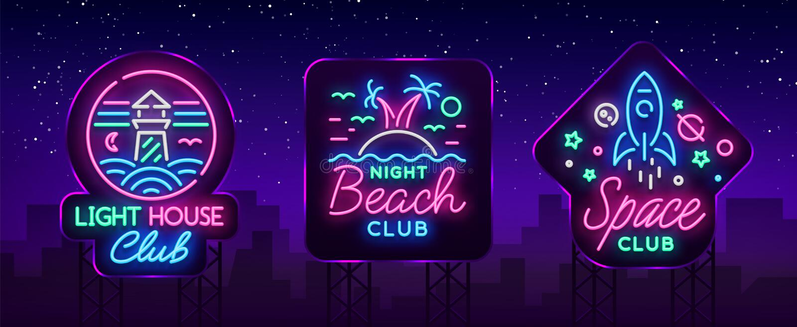 Nightclub set of neon signs. Logo Collection in Neon Style, Symbol. Lighthouse, Beach, Space. Design template for a. Nightclub set of neon signs. Logo Collection vector illustration