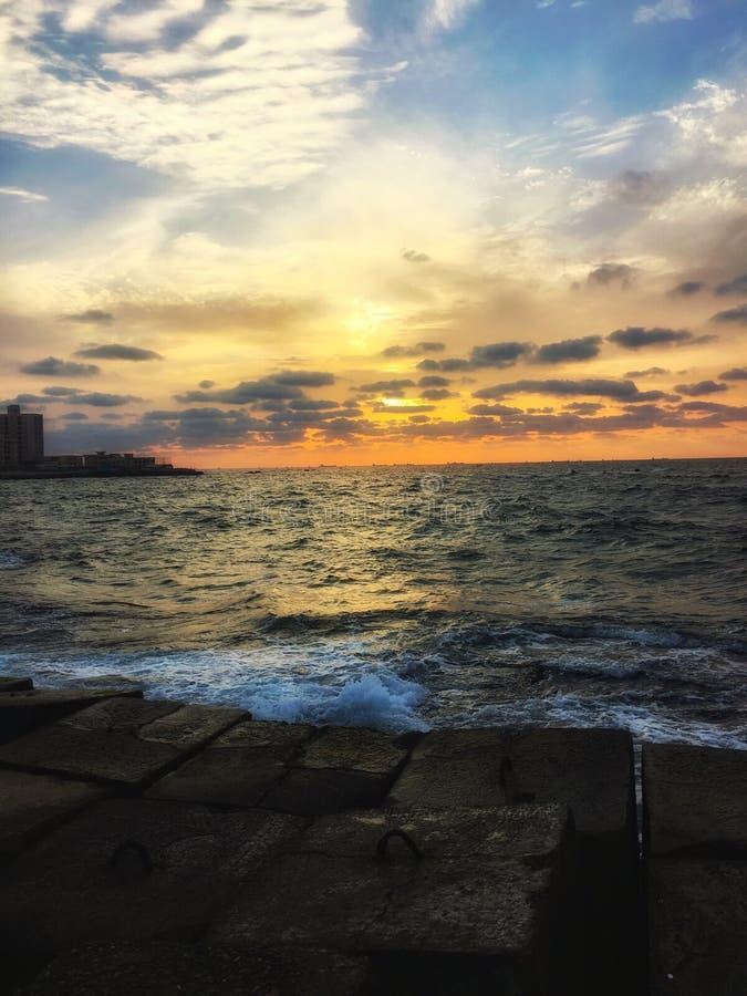 Sunset. Nightfall in Alexandria beach royalty free stock image