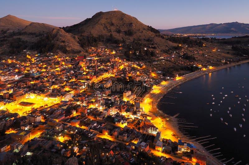 Nightfall in Copacabana, Bolivia stock photos