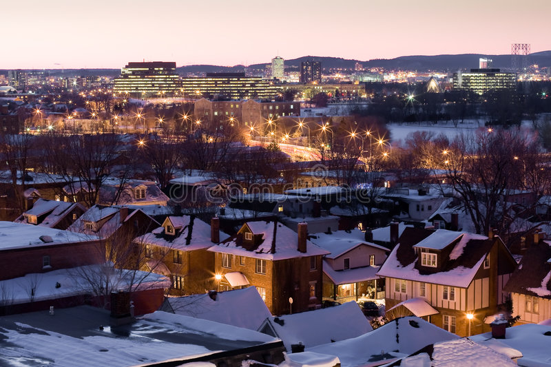 The nightfall of Ottawa after snow royalty free stock photos