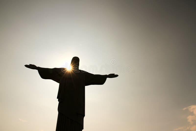 Nightfall over Cristo Redentor royalty free stock photography