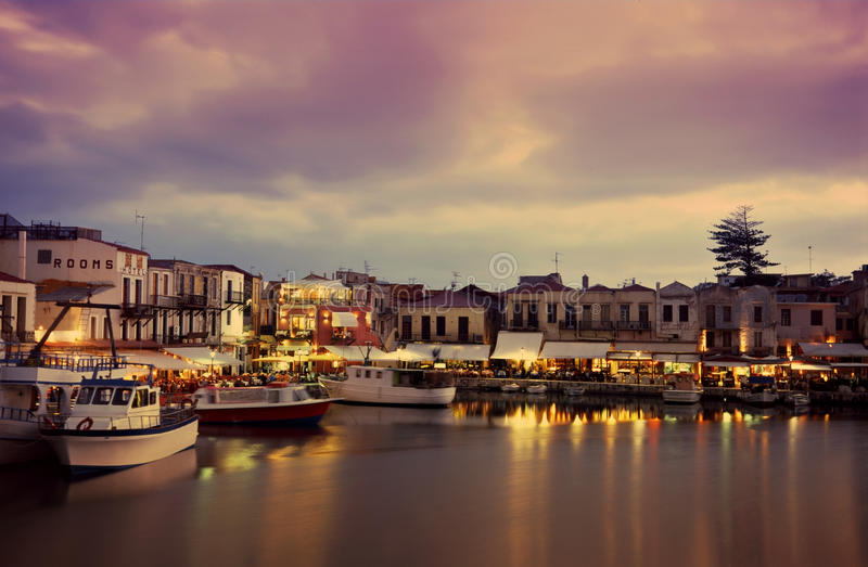 Download Nightfall on Rethymnon stock photo. Image of greece, crete - 15972460