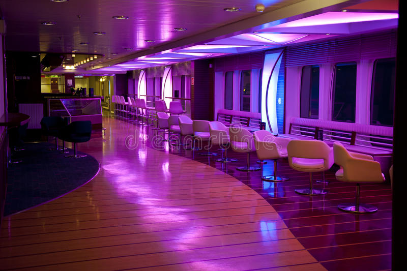Nightlife. Interior with pink and blue lights stock images