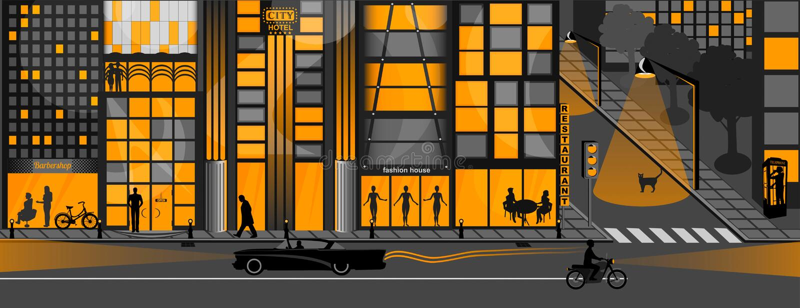 Image orange, Lights of the night city royalty free illustration