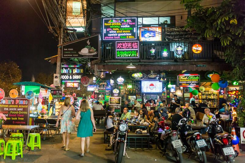 Nightlife in Chiang Mai downtown stock image