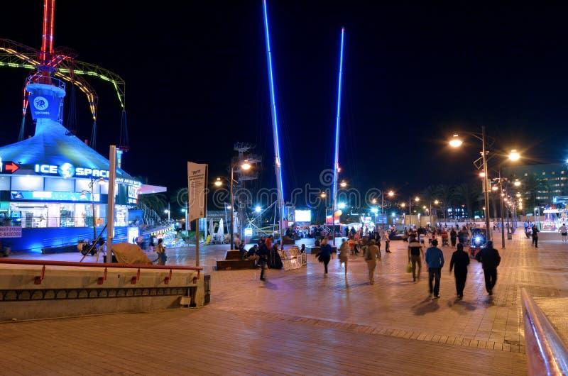 Nightlife cityscape of Eilat promenade, Israel stock image