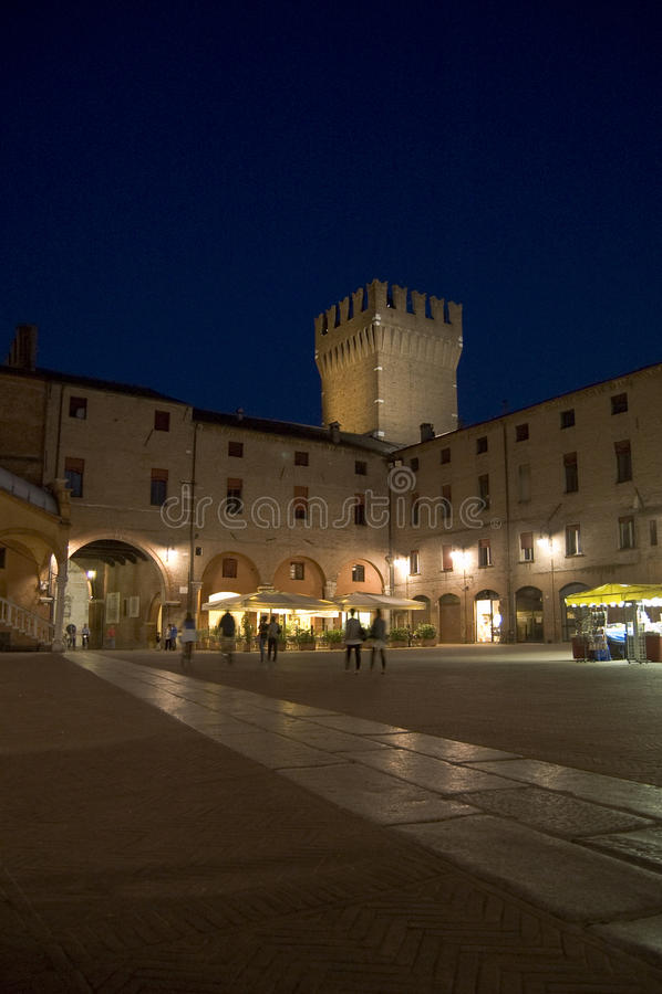 Nightlife in Ferrara. Central square in Ferrara, italy stock photos