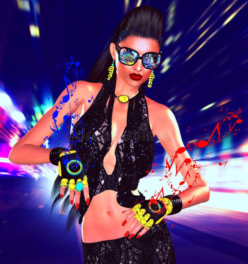 Free Nightlife Girl Posing On City Street With Motion Blur, Music Speaker Gloves Stock Images - 89108854