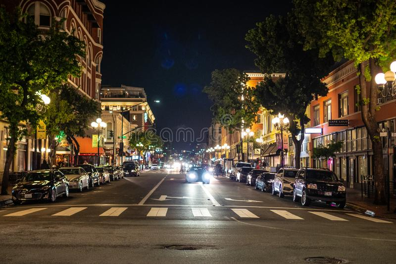Nightlife at historic Gaslamp Quarter San Diego - CALIFORNIA, USA - MARCH 18, 2019. Nightlife at historic Gaslamp Quarter San Diego - CALIFORNIA, UNITED STATES royalty free stock photography